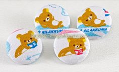 Fabric Covered Buttons (L) - Rilakkuma's Travelling To Paris (4Pcs, 1.1 Inch). $4.80, via Etsy.