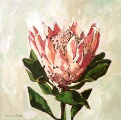Title: Stellendale Protea 1 Medium: Oil paint on canvas Size: x - Modern Protea Art, Protea Flower, Pen And Watercolor, Watercolor Flowers, List Of Paintings, South African Artists, King Art, Trees To Plant, Painting Inspiration