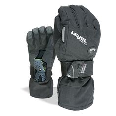 Level Half Pipe GTX Snowboard Protective Mittens with GoreTex Shell, BioMex Integrated Wrist Guards, ThermoPlus Liner (Black, Medium Mitten Gloves, Mittens, Snowboarding, Skiing, Ski Racing, Protective Gloves, Gore Tex, Hand Warmers, Black