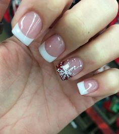 Christmas Gel Nails, Christmas Nail Art Designs, Holiday Nails, French Nails, French Manicure Acrylic Nails, French Nail Designs, Acrylic Nail Designs, Cute Nails, Pretty Nails