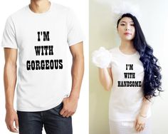 Handsome gorgeous matching couple shirts. His and her shirts. Couple shirts. Couple gift for girlfriend. Anniversary shirts. Gift for couple.  #handsomegorgeous #matchingcoupletee
