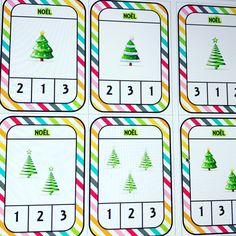 Numération PS : Cartes à compter de 1 à 3 sur le thème de Noël. Jeu autocorrectif Theme Noel, School Projects, Montessori, Alphabet, Activities, Winter, Christmas, Xmas, Names