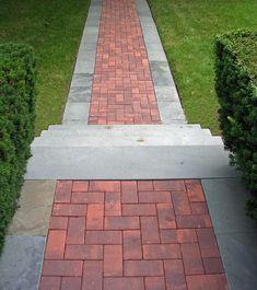 Front Entrance Pathway and Stairs Garden Landscape Design, Garden Landscaping, Clay Pavers, Brick Driveway, Brick Patios, Front Entrances, Pathways, Container Gardening, Garden Plants