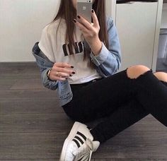 Image via We Heart It #adidas #beautiful #black #cool #grunge #tumblr #white #superstar #ootd