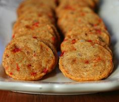 Pimento Cheese Crisps - a cross between a cheese straw and pimento cheese on a cracker
