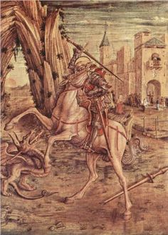 George and the Dragon by Carlo Crivelli Venice born Renaissance artist 1490 Tempera on wood by inches George & Dragon, Saint George And The Dragon, Italian Painters, Italian Artist, Tempera, Hl Georg, Altar, Medieval Dragon, Medieval Art