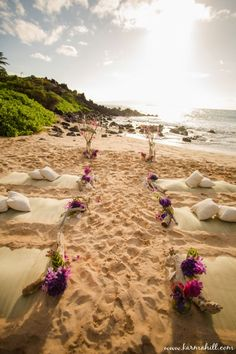 beautiful beach wedding decorations, guest beach mats and pillows | Maui Weddings by Simple Maui Wedding
