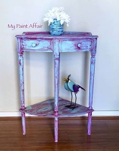 Rustic Finished Corner Table, Duck Egg Blue and Burgundy, heavily distressed with clear wax.  Find me at My Paint Affair on Facebook!  www.facebook.com/mypaintaffair