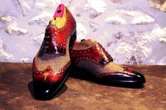 Handmade tweed derby shoes