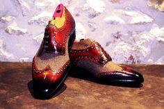 Handmade tweed derby shoes