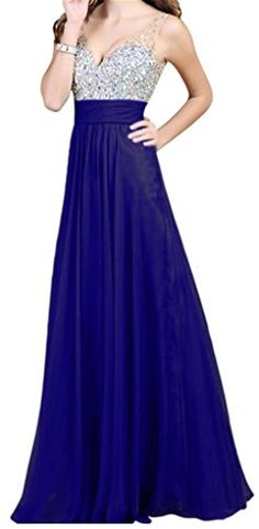 Queenworld Floor-length Gorgeous Chiffon Backless Beading Prom Party Dress