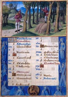 Jean Poyer November: Thrashing for Acorns Hours of Henry VIII, in Latin Illuminated by Jean Poyer France, Tours ca. 1500 256 x 180 mm The Dannie and Hettie Heineman Collection; deposited in 1962, given in 1977 MS H.8 (fol. 6)