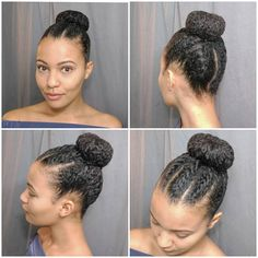 Here's a quick protective style I did. It's a high bun with some flat twists. I did five smaller flat twists at the front and two large…