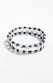 """A mix of metal and resin beads on elastic cord. Stretches to fit wrists up to 7 1/2"""". blue horizon bracelet 