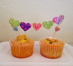 Heart Bunting Cake Topper. Vanilla cupcakes filled with passion fruit curd recipe