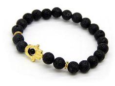 Hamsa Lava Bracelet