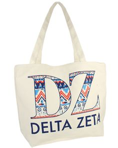 Delta Zeta Pattern Tote by Adam Block Design | Custom Greek Apparel & Sorority Clothes | www.adamblockdesign.com