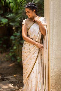 Cream cotton satin saree with floral sequin motifs and antique gota border Indian Saris Click Visit link to read Trendy Sarees, Stylish Sarees, Indian Look, Indian Wear, Ethnic Fashion, Indian Fashion, White Fashion, Women's Fashion, Indian Dresses