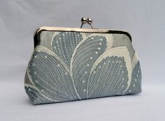 Embroidered Silver Silk Clutch Blue and Silver by TheHeartLabel