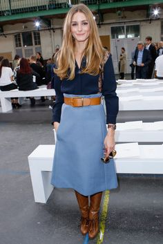 #Oliviapalermo rocking a navy shirt, denim skirt and brown boots