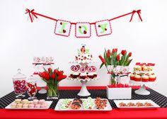 I like the double cake plate w/cake on top, cupcakes below!   Glorious Treats » Joy's Ladybug Birthday