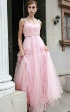 A-line Spaghetti Straps Floor-length Chiffon Pink Dress