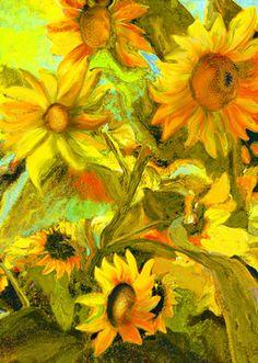 "Mixed Media Painting ""Sunflowers II"" This is a digital artwork. Saatchi Online, Sunflower Art, Arte Floral, Mixed Media Painting, Mellow Yellow, Art Techniques, Artist Art, Painting Inspiration, Sunflowers"