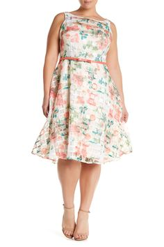 Floral Belted Fit & Flare Dress (Plus Size)