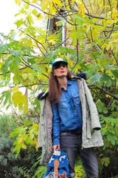 #parka and #denim  #jeans #baseballcap #custom #backpack #winter #streetstyle #fashionblogger