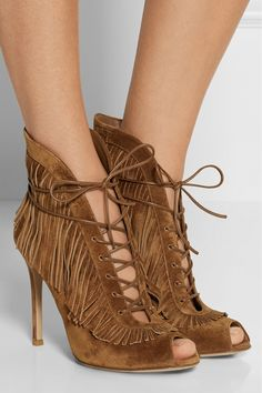 Gianvito Rossi   Fringed lace-up suede ankle boots