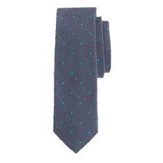 J.Crew men's English textured silk tie in moss grey dots.