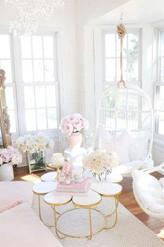 Sunroom with rattan swings, peonies, floral coffee table, throw pillows, faux flowers and roses. Elegant Home Decor, Elegant Homes, Pastel Home Decor, White Home Decor, Room Ideas Bedroom, Bedroom Decor, Bedroom Sets, Nursery Ideas, Deco Pastel