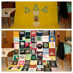 GIGANTIC @Delta Delta Delta Fraternity t-shirt quilt made by the very talented @Robin S. Donoho!  #tridelta #quilt #tshirtquilt