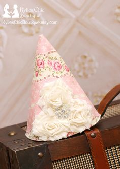 Chic Birthday hat Shabby Chic party hat by KyliesChicBoutique, $24.50