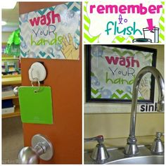 classroom routines for the restroom - wash and flush - KindergartenWorks. Totally printing these out!