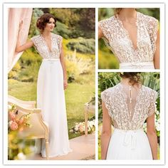 Elegant A Line V Neck Beach Bohemian Wedding Dresses 2014 Floor Length See Through Bridal Gowns Robe De Soiree-in Wedding Dresses from Apparel & Accessories on Aliexpress.com | Alibaba Group