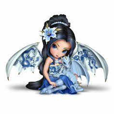 #4 July Aug Perpetual Calendar Jasmine Becket-Griffith Fairy Figurine Set of 2