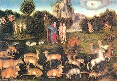 Lucas Cranach il vecchio - Adamo ed Eva nel giardino di Eden Renaissance, Dresden, Easter Devotions, Lucas Cranach, Field Of Dreams, Heaven And Hell, Garden Of Eden, Great Paintings, Blessed Virgin Mary