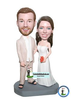 Custom Wedding Bobbleheads  Custom bobblehead dolls made to look like you! change the color as you like!This customized wedding bobble head depicts groom  wearing a suit without tie and a pair of black flip flops instead of shoes, while the bride dressed in a white simple strapless wedding gown with a maple leaf. This customized heart dance bobblehead can help to remind how you two came together as one. Also perfect for the couple you really like. Our creative artists will never let you…