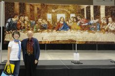 I saw this at the Houston International Quilt Festival, it is an amazing quilt!!    Lord's Supper quilt- over 50,000 pieces- made by Dr. Don Locke, from Texas -- shown here at the The West Virginia Quilt Festival