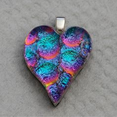 Dichroic Fused Glass Heart Pendant