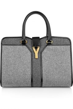 Yves Saint Laurent Cabas Chyc Medium wool-felt and patent-leather tote