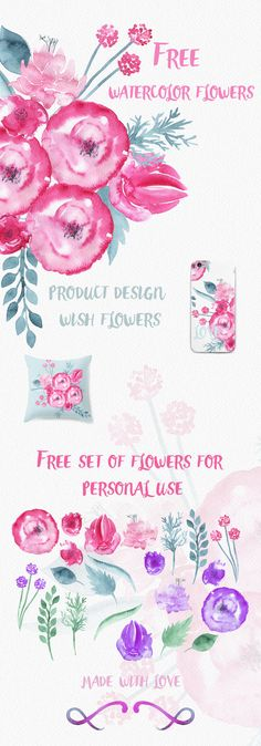 Free Watercolor Flower Set