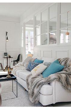 Sofa. White, turquoise, grey, black. Harmony!