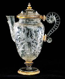A RENAISSANCE-STYLE ENAMELLED AND GOLD-MOUNTED ROCK-CRYSTAL COVERED EWER