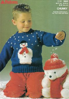 789bf244f7e Vintage PDF E-Pattern Knitting Pattern for a Childrens Snowman Christmas  Sweater No  3662 22-28 Inch Chest Instant Download
