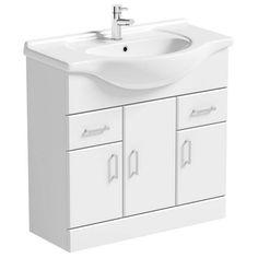 Sienna White 85 Vanity Unit & Basin