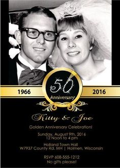 Elegant anniversary invitations are a must when celebrating such a milestone event. Designed exclusively by Announce It!, your party invites will be unique. 50th Wedding Anniversary Invitations, 50th Anniversary Decorations, 50th Anniversary Cakes, Anniversary Parties, Anniversary Ideas, Second Anniversary, Parents Anniversary, Golden Anniversary, Invitations Online