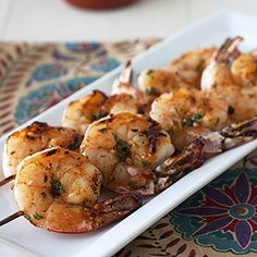 Spicy Sriracha Shrimp Skewers.  These were delicious and super easy- we cooked them on the George Foreman!