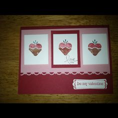Happy valentines day!! This cards is made using Stampin up products including crystal effects on the chocolate part of the strawberry... <3